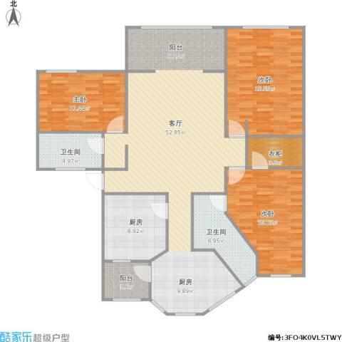 金陵御花园3室1厅2卫1厨169.00㎡户型图