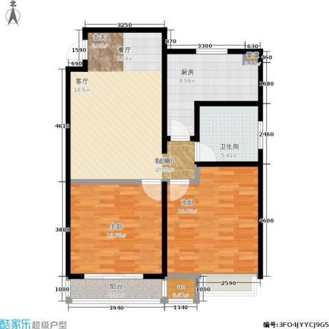 百利广场2室1厅1卫1厨80.00㎡户型图