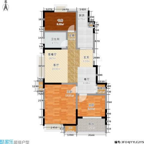 百丽明珠花园3室1厅1卫1厨92.00㎡户型图
