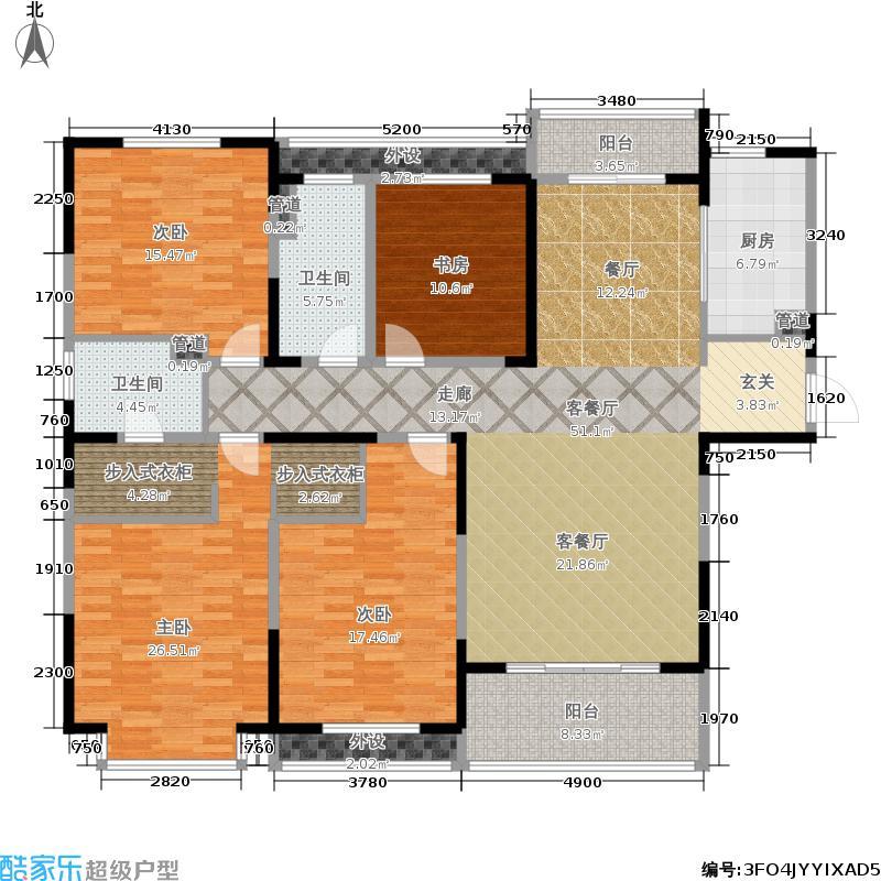 中海万锦熙岸167.82㎡一期13幢高层标准层C2户型