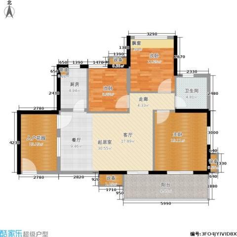 万科云山3室0厅1卫1厨97.51㎡户型图