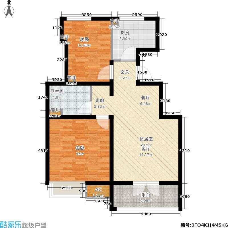 社会山201485.00㎡洋房标准层B5户型2室2厅