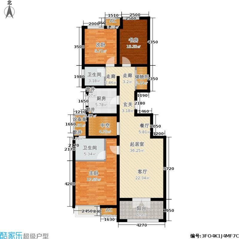 社会山2014123.00㎡洋房标准层B2户型3室2厅