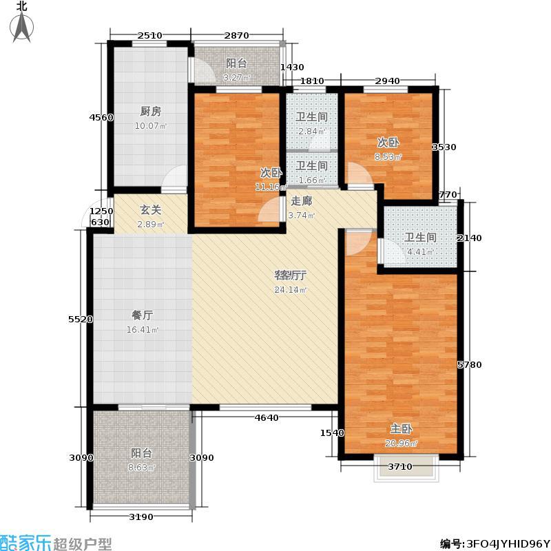 中森意墅蓝山143.00㎡四期53#东1单元3层3室户型
