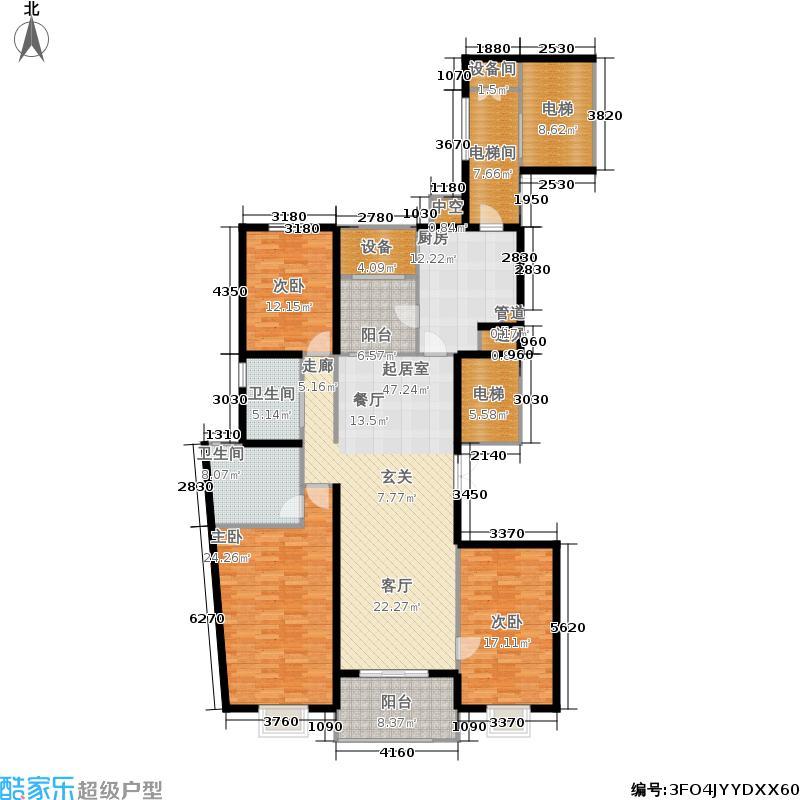 恒盛金陵湾189.00㎡二期4号楼标准层B户型