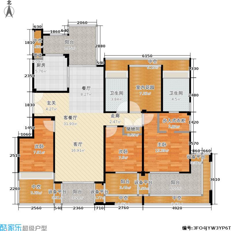 保利独墅西岸137.00㎡洋房梵高的窗台竖厅户型-副本
