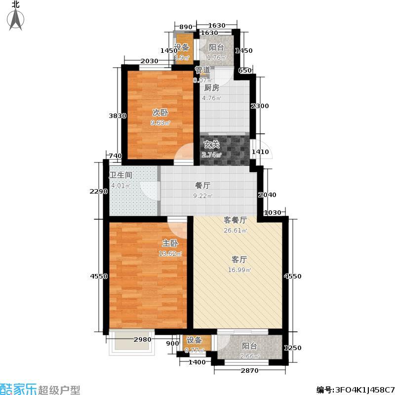 澜湾半岛91.93㎡一期2-3-4-7号楼标准层F户型2室2厅