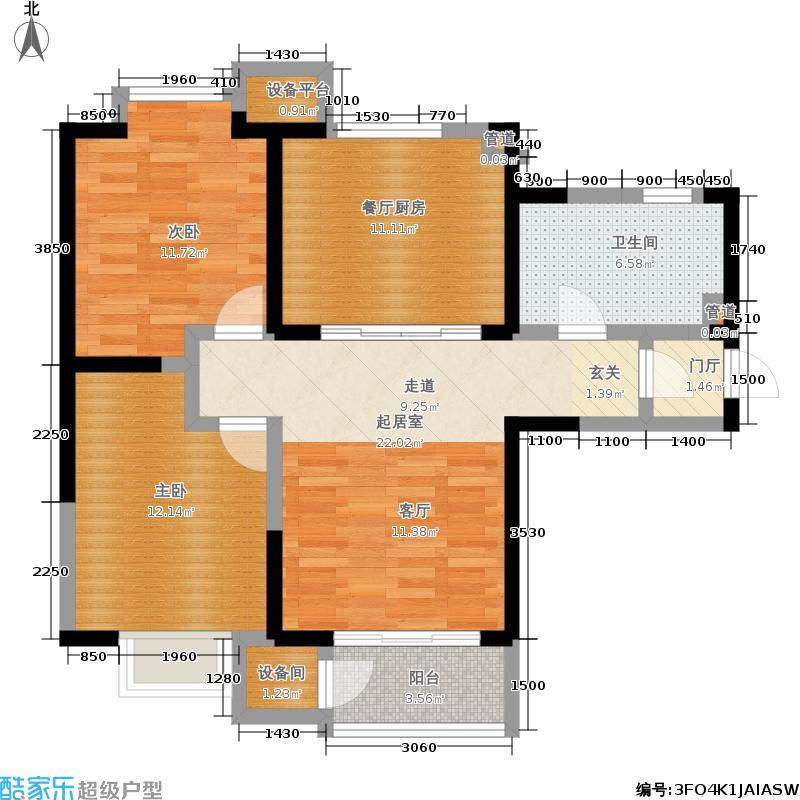 大地12城102.00㎡2、3、4号楼标准层户型2室2厅