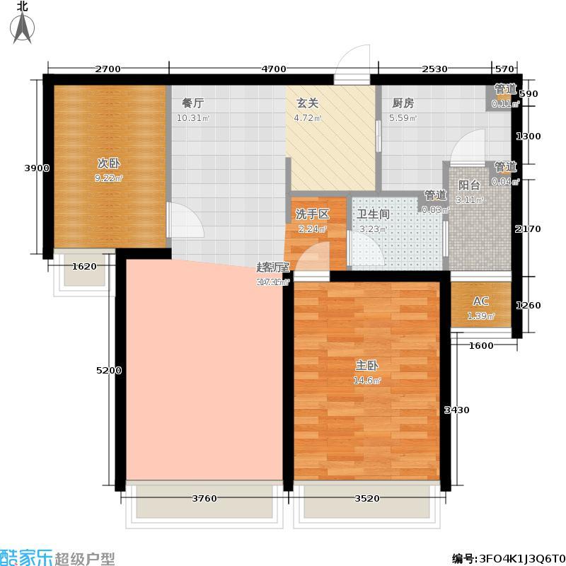 仁恒河滨花园100.00㎡二期高层12号楼3-27层户型2室2厅