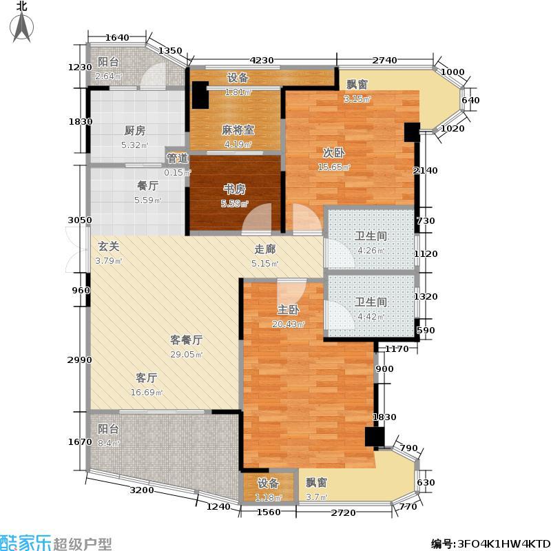 五矿万境水岸111.44㎡10栋9号房户型3室2厅