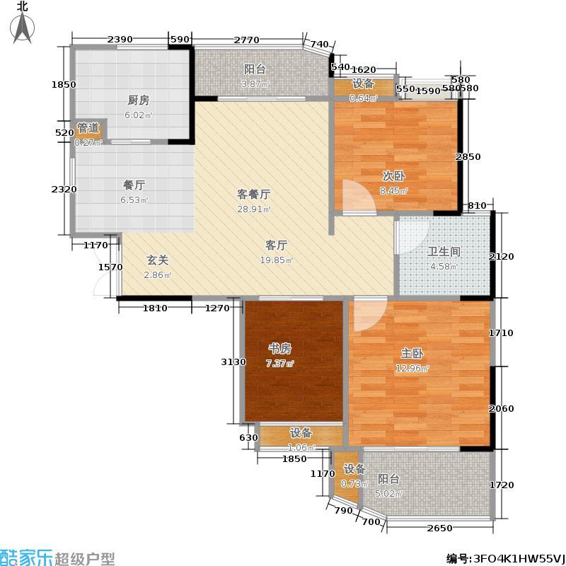 五矿万境水岸88.00㎡14号栋4/5号房户型3室2厅