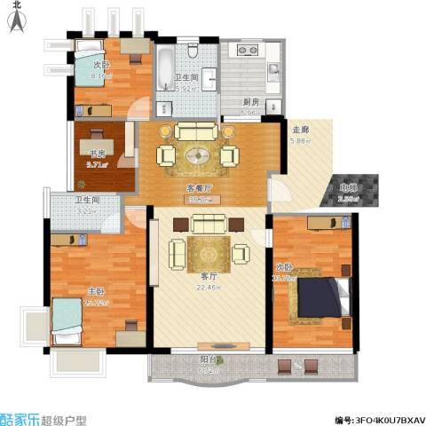 绿地东上海4室1厅2卫1厨140.00㎡户型图