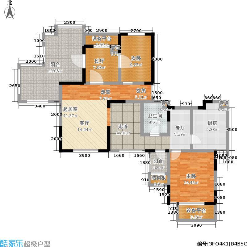 大地12城103.00㎡2、5、8、9号楼标准层户型1室2厅