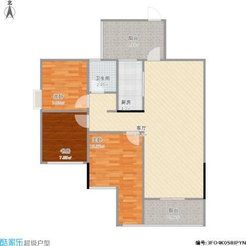 温馨家园3室1厅1卫1厨113.00㎡户型图