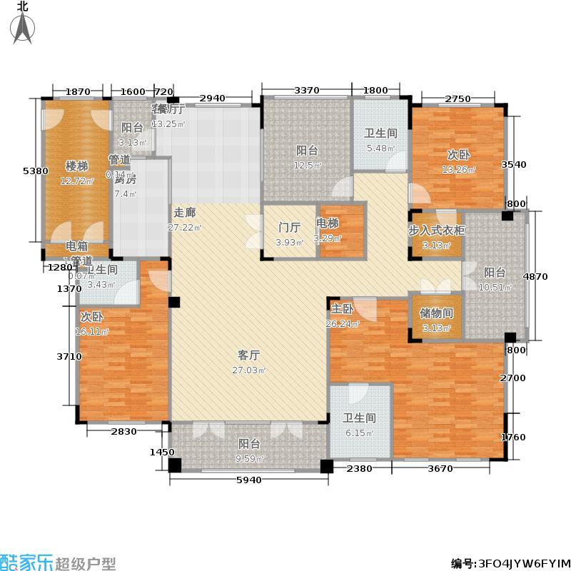 中吴红玺臻园225.00㎡一期11#、17#大平层标准层E1-4户型