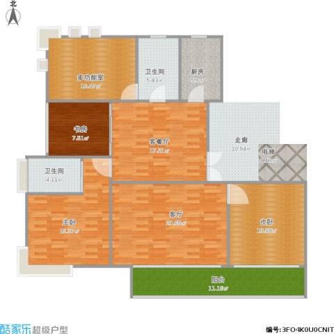 绿地东上海3室2厅2卫1厨154.00㎡户型图