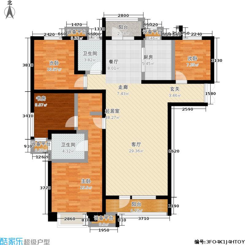 金地艺境139.00㎡E3户型4室2厅