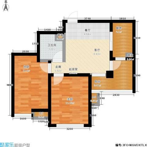 丹田医居社区2室0厅1卫1厨77.00㎡户型图