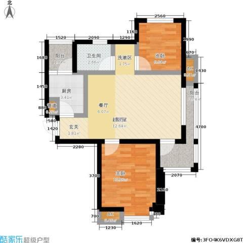 丹田医居社区2室0厅1卫1厨78.00㎡户型图