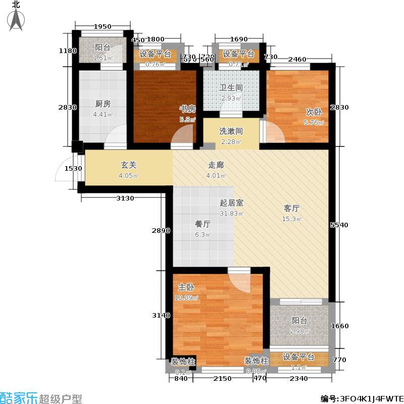 金地艺境88.00㎡C1户型3室2厅
