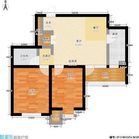丹田医居社区2室0厅1卫1厨84.00㎡户型图