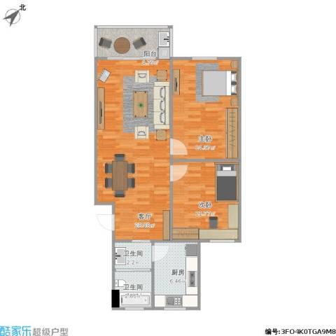 景泉花园2室1厅2卫1厨96.00㎡户型图