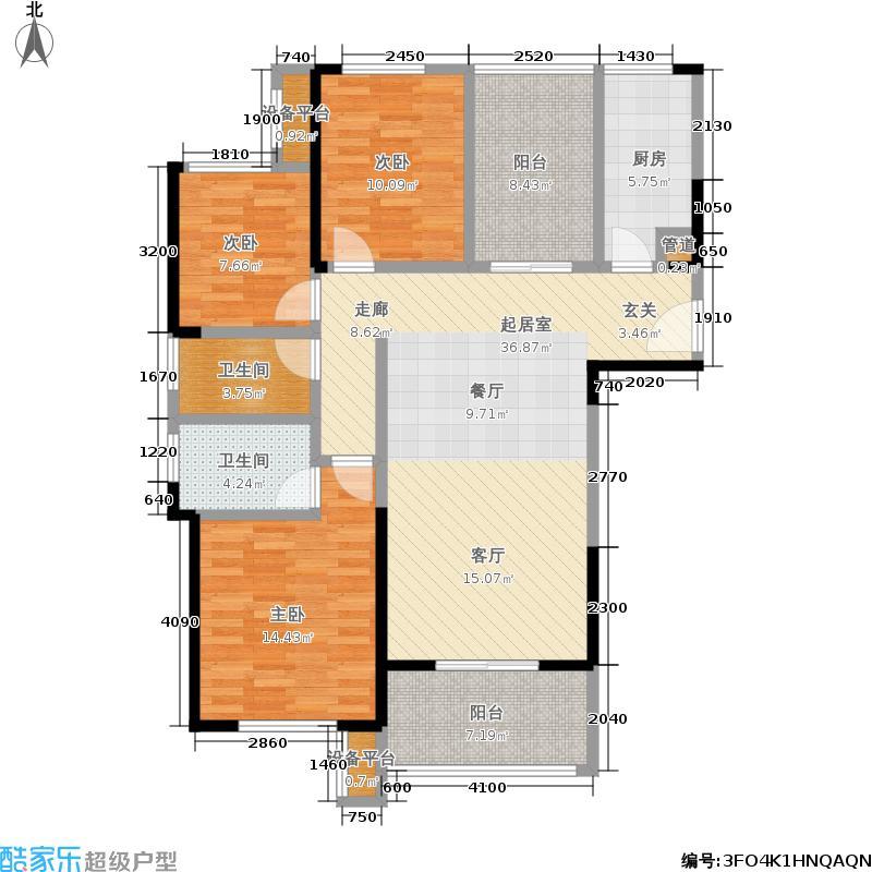 绿地海外滩114.28㎡户型3室2厅
