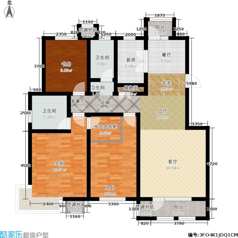 中国铁建国际城144.00㎡二期洋房端户A1144户型3室2厅