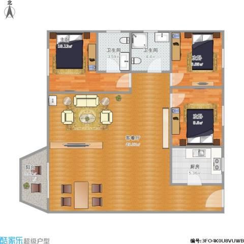 星晨花园二期3室1厅2卫1厨124.00㎡户型图