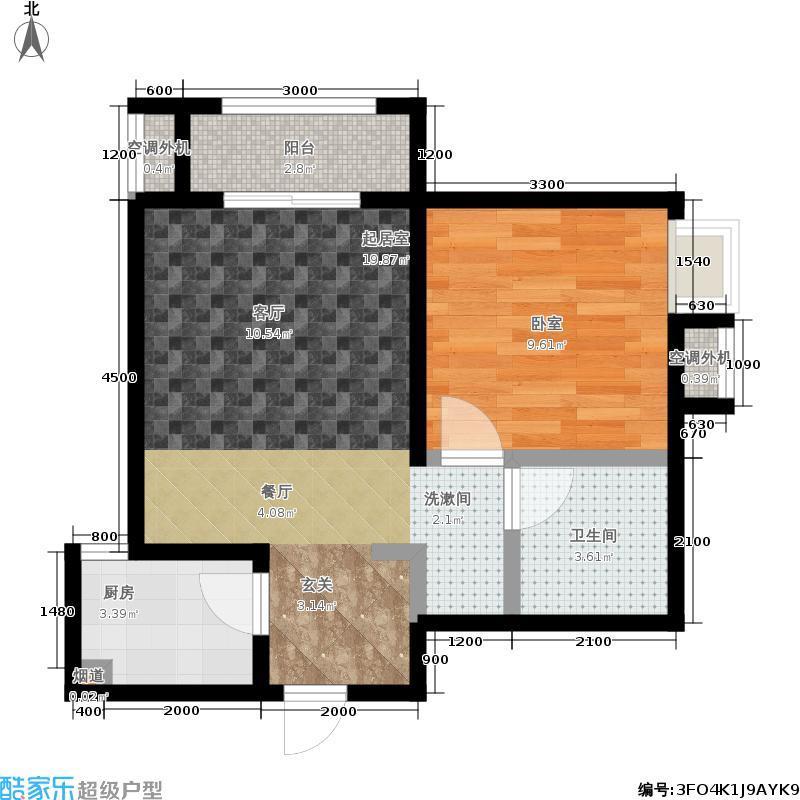 中华世纪城马上57.90㎡4A户型1室2厅