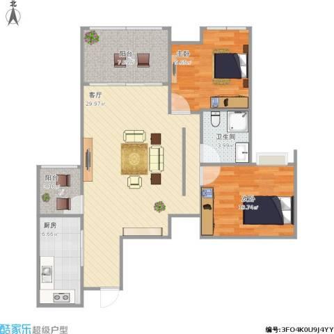 首创鸿恩国际生活区三期2室1厅1卫1厨96.00㎡户型图