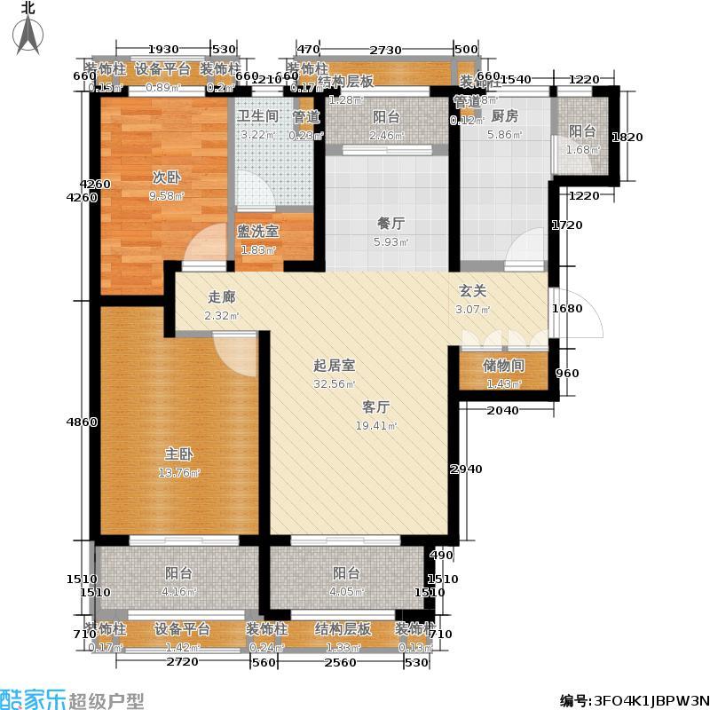 天津碧桂园117.00㎡J81A户型2室2厅