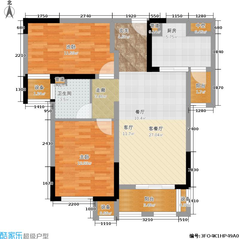 华雅林语苑89.50㎡B户型2室2厅