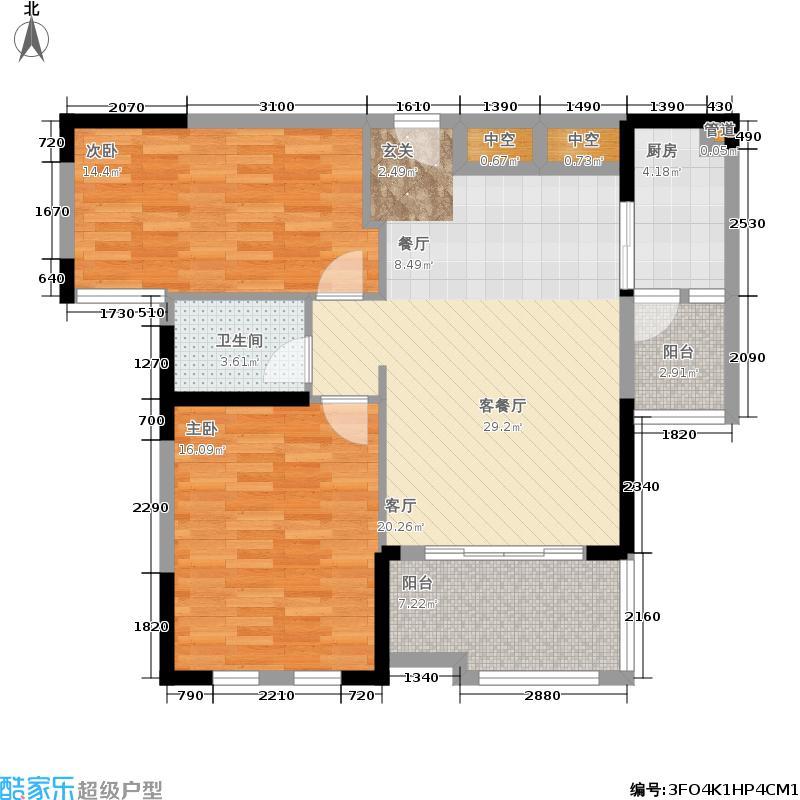 华雅林语苑101.99㎡B户型2室2厅