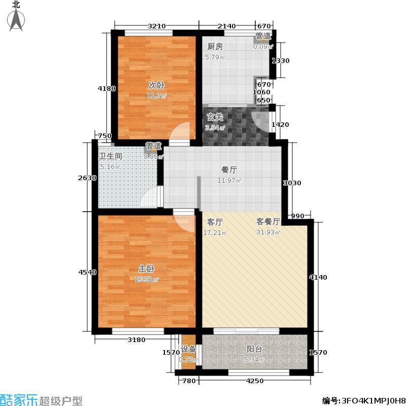 海尔时代广场89.42㎡C3户型2室2厅