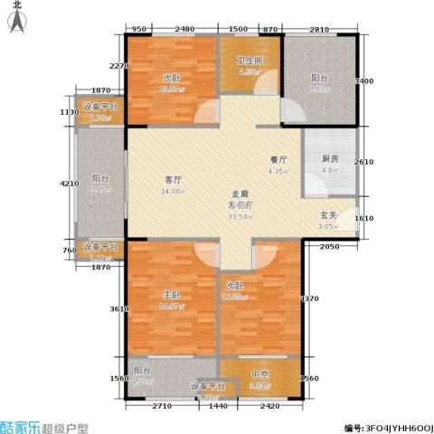 宏江中央广场3室1厅1卫1厨116.00㎡户型图