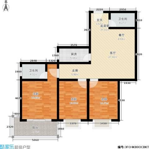 大华锦绣3室0厅2卫1厨120.00㎡户型图