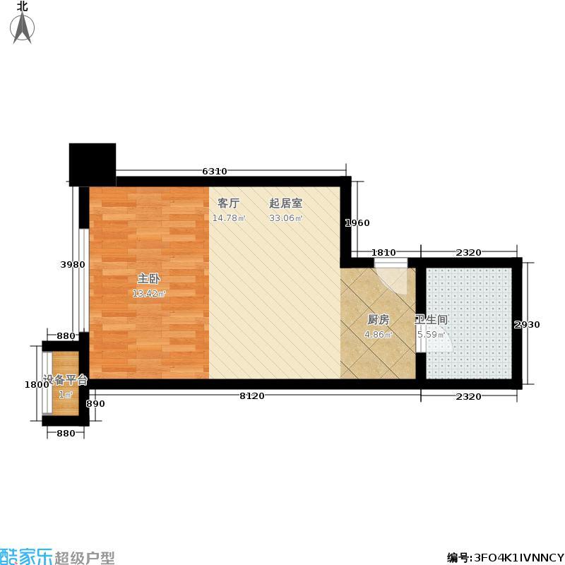 瑞城44.53㎡6号公寓楼C1户型1室1厅