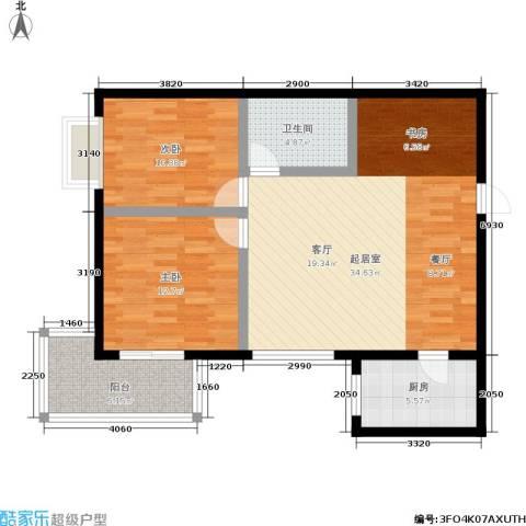 朱雀乐府2室0厅1卫1厨84.00㎡户型图
