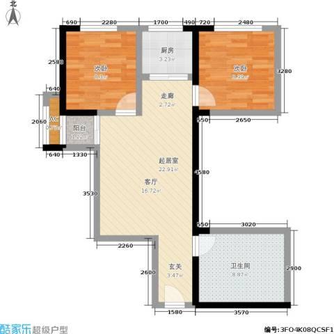 佳铭东郡2室0厅1卫1厨64.00㎡户型图