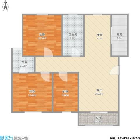 东方花园二期3室1厅2卫1厨104.00㎡户型图