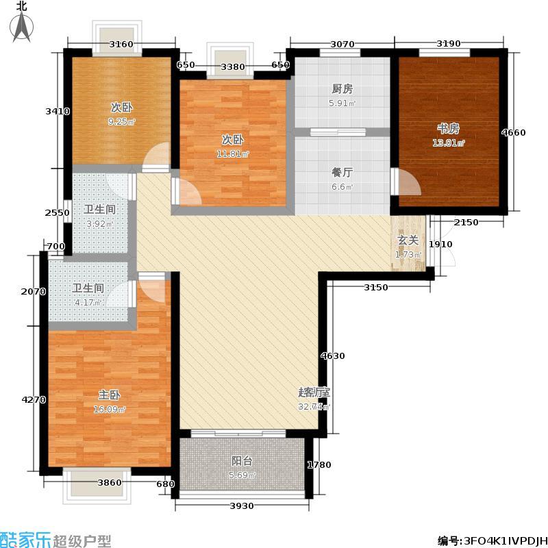 瑞城127.32㎡三期F5号楼C户型3室2厅