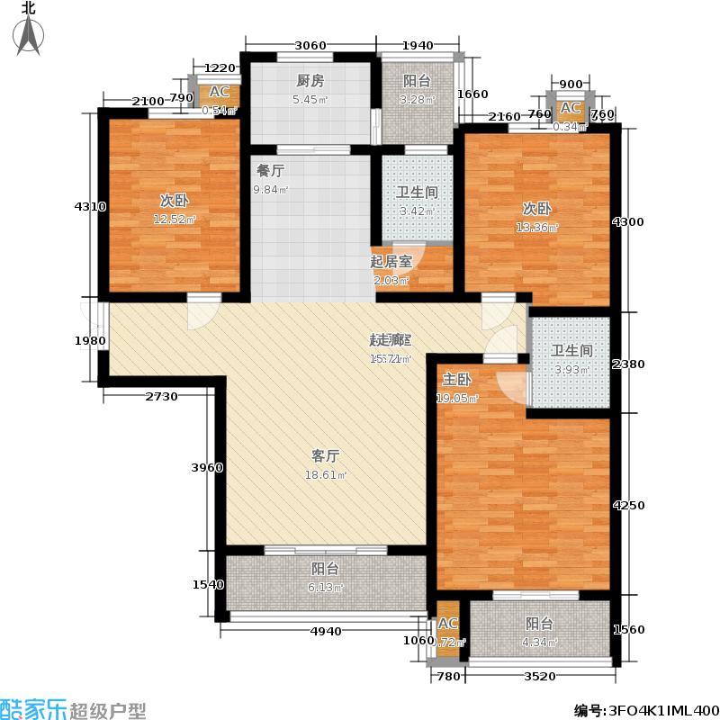 玫瑰湾137.83㎡4#户型3室2厅