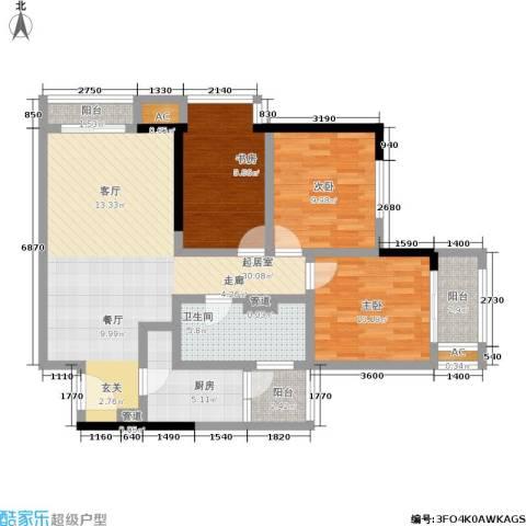 曼城国际3室0厅1卫1厨94.00㎡户型图