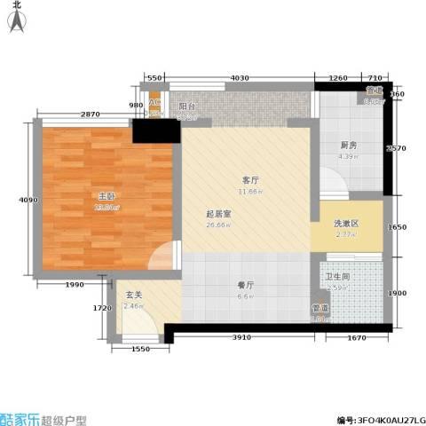 曼城国际1室0厅1卫1厨56.00㎡户型图