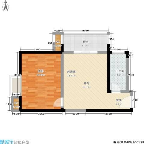 朱雀乐府1室0厅1卫1厨57.00㎡户型图
