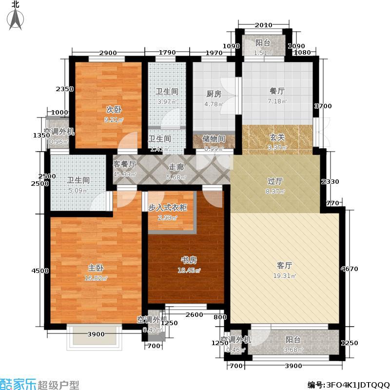 中国铁建国际城135.00㎡二期洋房标准层A-户型3室2厅