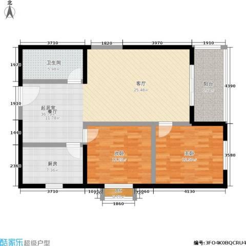 朱雀乐府2室0厅1卫1厨96.00㎡户型图