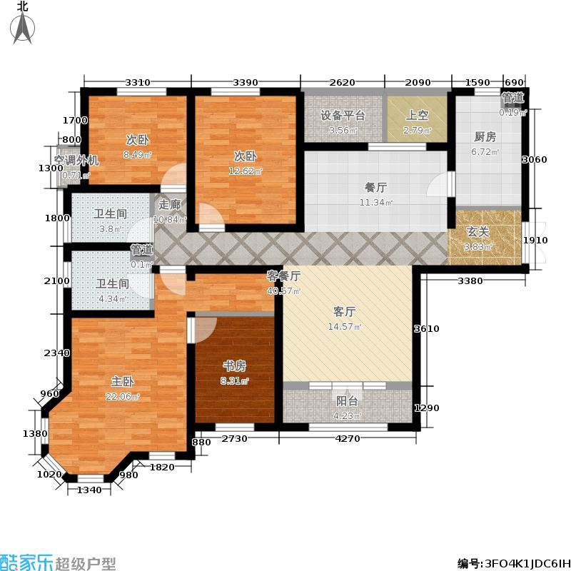 五矿榕园170.00㎡高层标准层E户型4室2厅