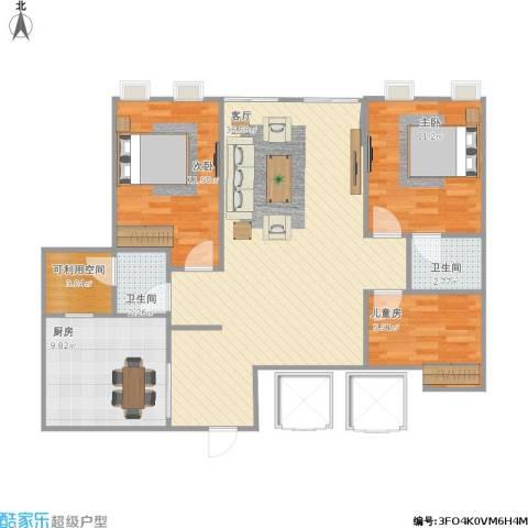宁宝世家3室1厅2卫1厨114.00㎡户型图